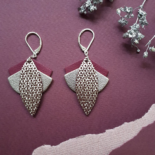 Boucles d'oreilles en cuir LOTUS Prune
