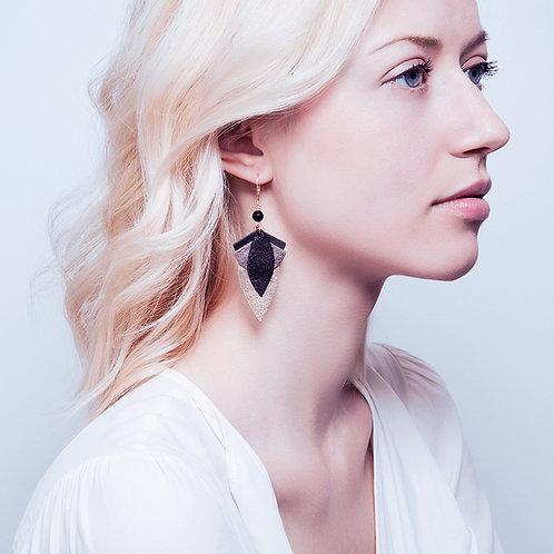 Boucles d'oreilles GRAND LOTUS Noir
