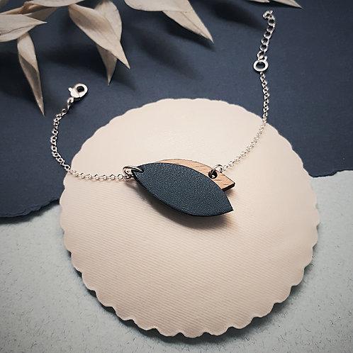 Bracelet en bois et cuir MINI PÉTALE Marine