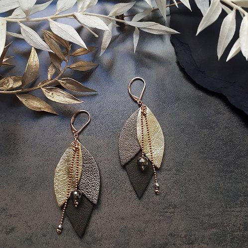 Boucles d'oreilles en cuir TULIPE Kaki