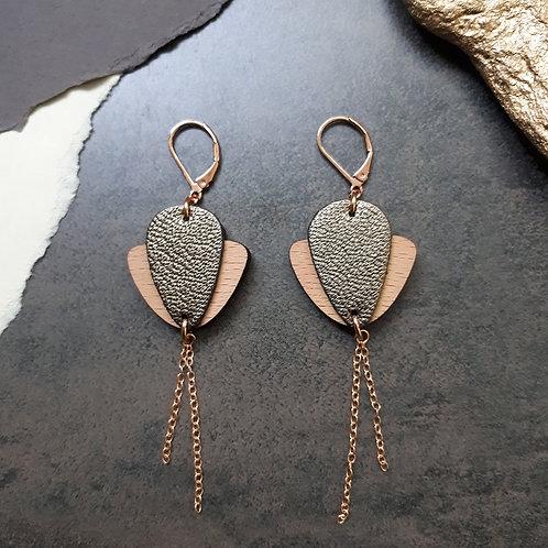 Boucles d'oreilles en bois et cuir Magnolia kaki