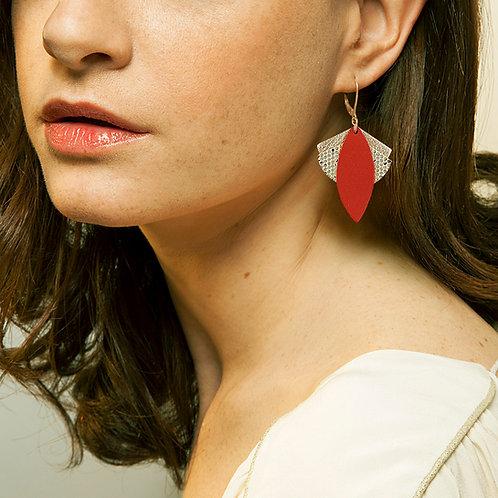 Boucles d'oreilles en cuir LOTUS Rouge