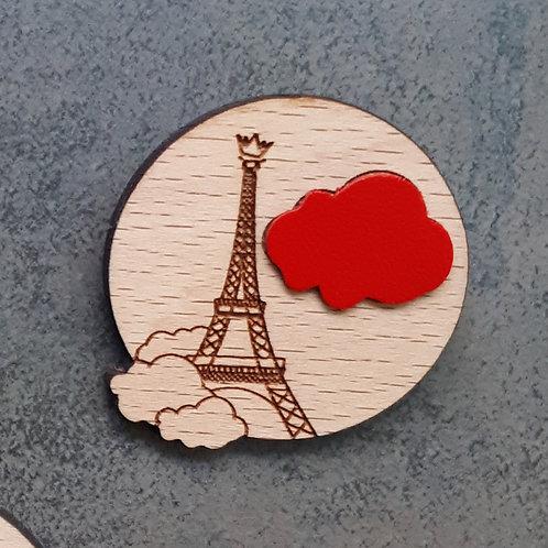 Paris sous les nuages ROUGE / Broche