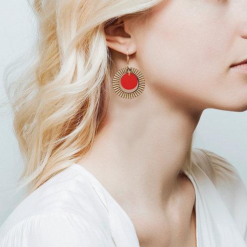 Boucles d'oreilles en bois et cuir BULLE Rouge