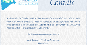 Convite de Inauguração da Sede Própria do Sindmed Grande ABC