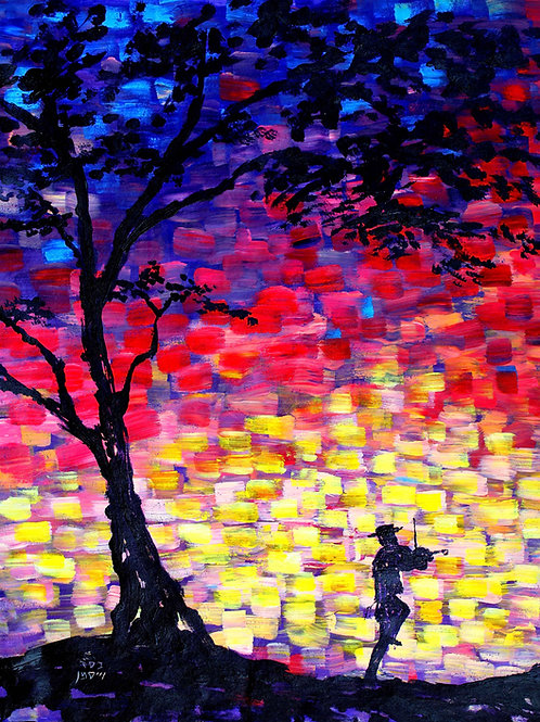 Fiddler on a Mosaic Colored Night