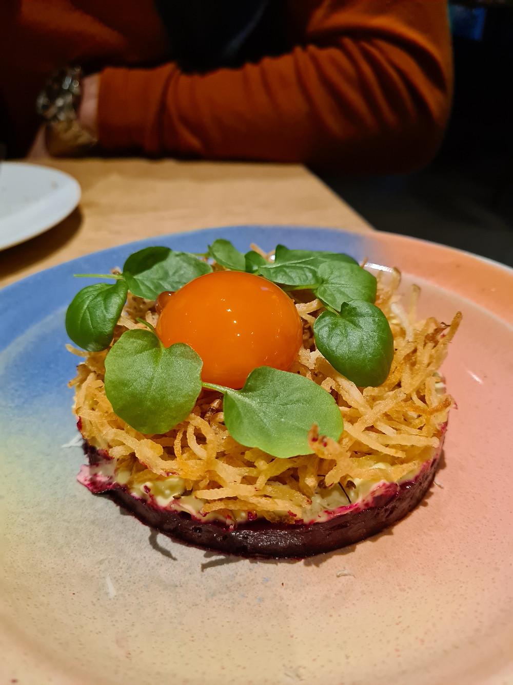 Beet root tartare egg yolk vasil potato