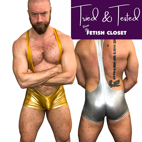 Metallic Gold/Silver/Wetlook Black Wrestling Singlet