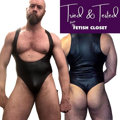 Thong back, wet look, leotard style Wrestling Singlet