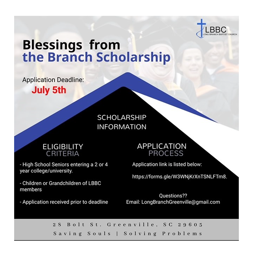 Blessings from the Branch Scholarship Application