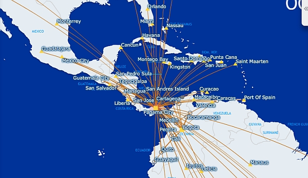 Copa Airlines mapa