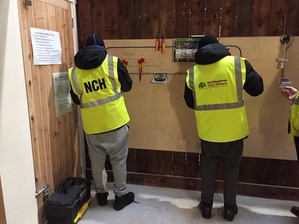 Pupils getting a taster of an actual apprentice training @ Nottingham City Homes