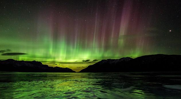 Aurora Over Frozen Abraham Lake