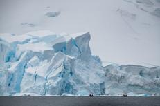 Zodiacs Approaching a Glacier
