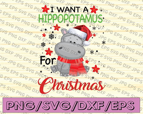 A Hippopotamus For Christmas Funny Hippo Gifts Women PNG