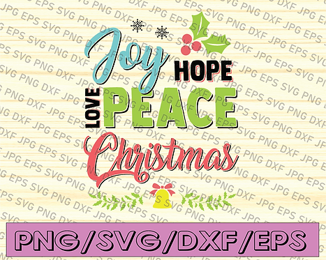 Joy Love Hope - digital Christmas Tree word art for Winter T-shirt and home