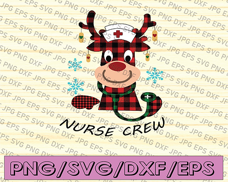 Christmas Nurse Crew PNG, Reindeer Nurse, Christmas Gift For Nurse,