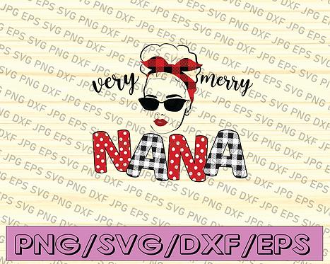 Merry Christmas Nana Family Matching Red Plaid Wink Eyes Sunglasses messy Bun