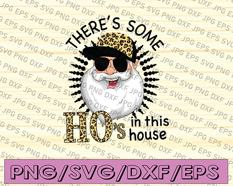 Leopard Christmas, There's Some Hos In This House, Glasses Santa Claus Png