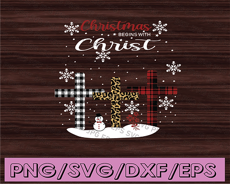 Christmas Begins With Christ Costume Xmas Christian Leopard Cross PNG Download
