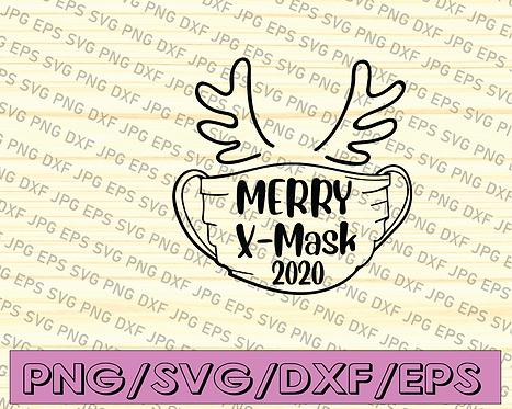 Merry X-mask svg, Christmas Mask Social Distancing 2020 Ornament Design SVG,