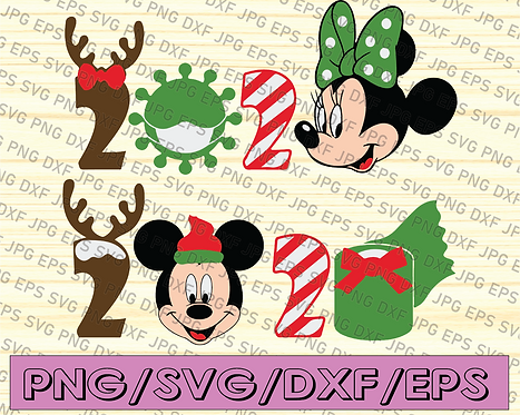 Mickey and Minnie Christmas 2020 Quarantine SVG files – kids shirt svg cut file
