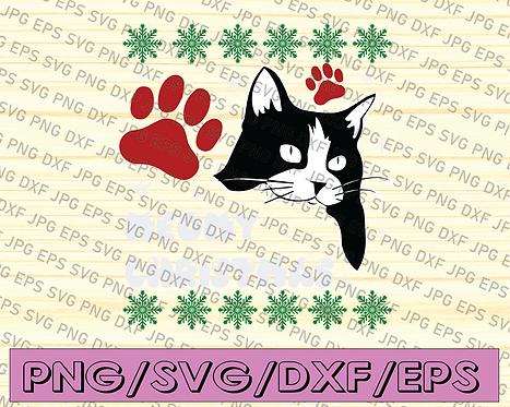 Merry Christmas Cat SVG, Christmas Svg, Cat Svg, Winter Svg, Santa Hat Cat Svg,