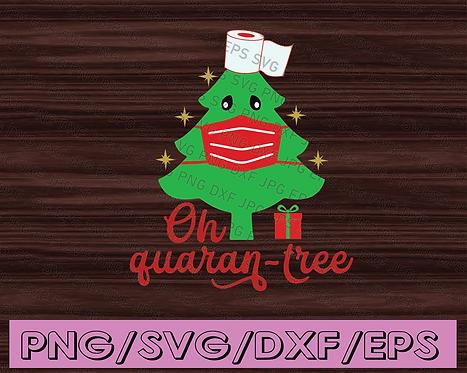Quarantine Christmas SVG Oh Quaran-Tree Chrsitmas lights tree Funny print