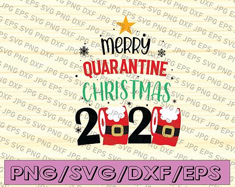 Merry Quarantine Christmas 2020 SVG, Santa with Face Mask 2020 SVG,