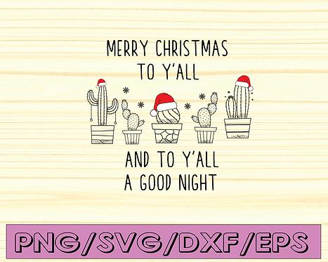 Merry Christmas y'all Svg, Christmas Svg, Holiday Svg, Winter Svg, Santa Svg,