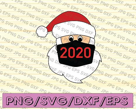 Santa Wearing Mask svg, santa claus mask svg, funny santa claus 2020 svg,