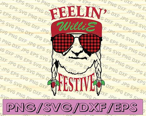 Feelin' Festive svg,Feelin' Willie Christmas SVG / Willie Nelson Christmas SVG