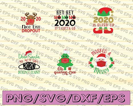 Christmas bundle Elf 2020 Christmas, Quaran-Tree lights tree, Mask Santa cut