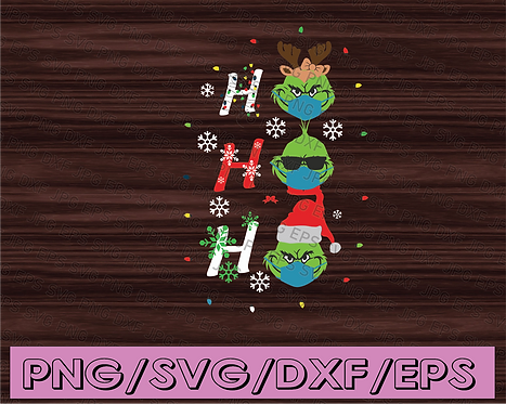 HOHOHO The Grinch Face PNG Download, Merry Christmas Xmas Gift,