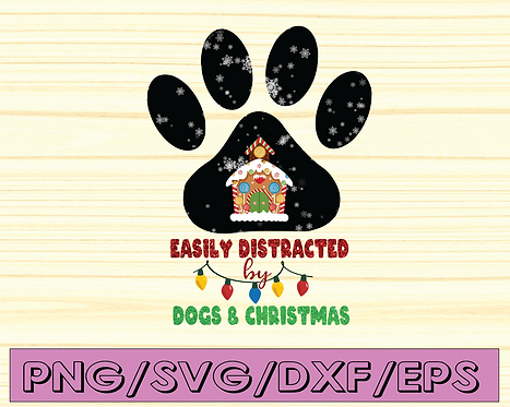 Easily distracted dogs and Christmas ,png, Digital Download