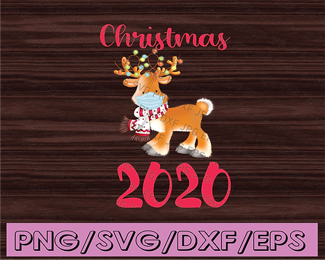 Christmas 2020, Funny Reindeer PNG Wears Facial Mask, Christmas Gift Sublimated