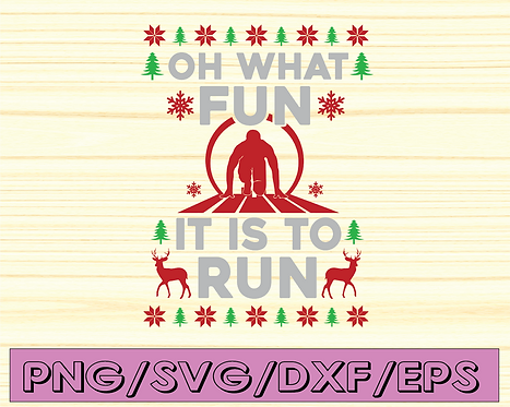 Oh what fun it is to Run svg, jingle bells svg, christmas man svg,