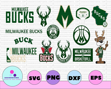 Milwaukee Bucks SVG,Cut File, Stencil and Decal Files Logo for Silhouette, NBA