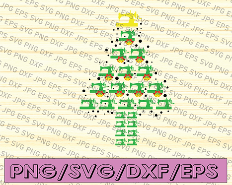 Sewing Machine Christmas Tree SVG, Sewing Christmas SVG, Christmas Tree Sewing