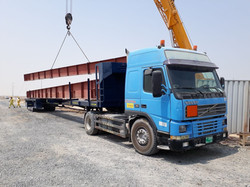 Flatbed trailer extendable up to 45 meter