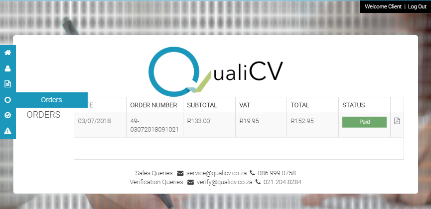 Orders Section at www.qualicv.co.za/service