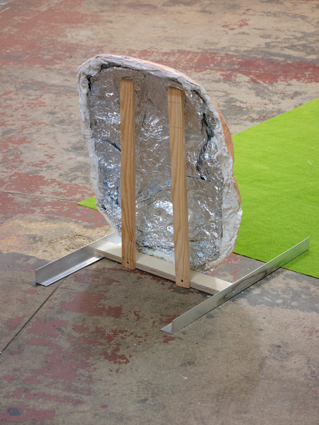 Sculpture with aluminum foil, aluminum, plaster, acrylic, wood, print on cardboard, UV damaged 3D print and artificial grass mat, finished in July
