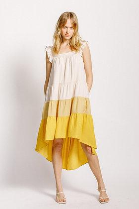 High Low Color Block Dress Back
