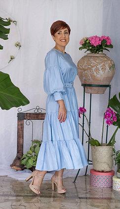 Vestido Midi de Mangas Largas
