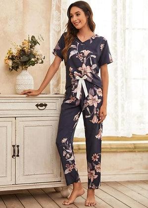 Pijama Largo Estampado Flores
