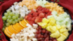 Fruit and cheese platter from the side -