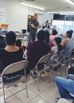 Troy Elder leads a workshop for familys stranded in Tijuana under the Migrant Protection Protocols.