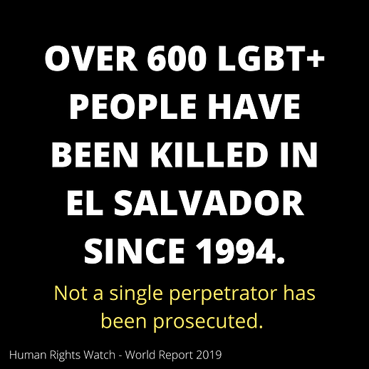 "A graphic that reads ""600+ LGBT People Have Been Killed in El Salvador since 1994. Not a single perpetrato has been prosecuted."""