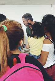 Managing Attorney, Troy Elder, leads a workshop for families stranded in Tijuana under the Migrant Protection Protocols.