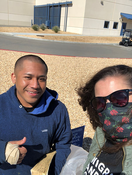 Jose stands with our Executive Director, Lindsay Toczylowski hours after being released from Adelanto Detention Center.